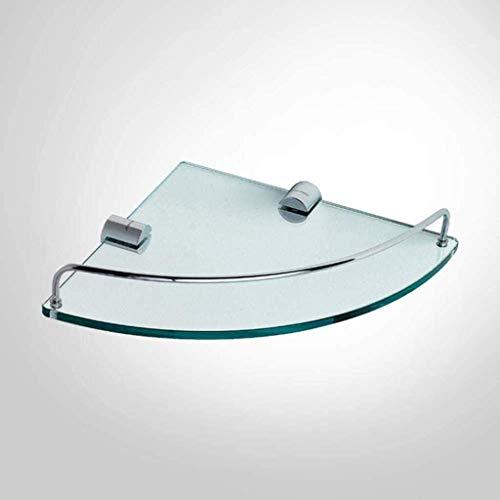 Estantes de la esquina de baño Estantes de ducha de acero inoxidable triangular con riel, montaje en la pared 1 nivel de cosméticos de cosméticos Estante de baño Estante de ducha de cristal Estante de