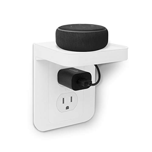ALLICAVER Outlet Shelf, Power Perch with Built-In Cable Management, A Space Saving Solution for Google Home, Smart Speakers, Cellphones, Electric Toothbrush and More (White-standard)