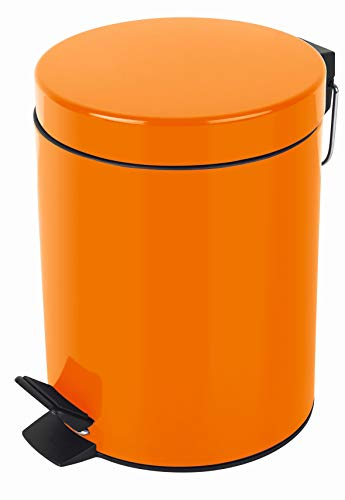 (5 litros, Naranja colección Sydney, Papelera con Pedal Ø20 x 27 cm, Metal
