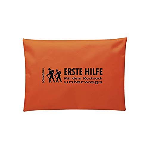 Söhngen 03080190 Kit de premiers secours avec sac à dos de voyage comprenant : pansements, bandages élastiques, bandes WSS, gants de protection, ciseaux, etc. Orange