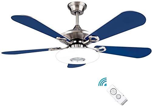 DLGGO Ventilador de techo mediterránea con la lámpara de luz - 4 palas de madera maciza con control remoto 24W LED, cubierta de temporización de iluminación, 3 Nivel de velocidad del viento, tranquila