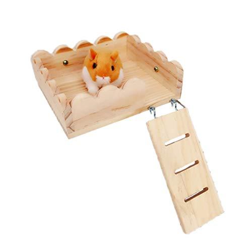 JOYKK Huisdier Houten Swing Ladder en Resting Platform Set voor Muis Chinchilla Rat