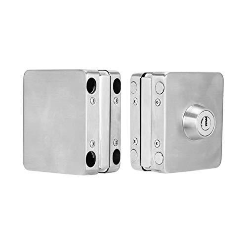 YUAN CHUANG Cerradura de Puerta de Vidrio de un Solo Vidrio de Seguridad Inoxidable de Seguridad de Oficina con Llave para Puerta de Vidrio Templado sin Marco de 10-12 mm de Espesor