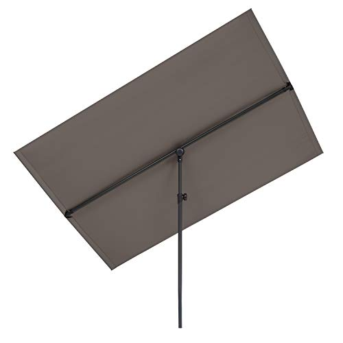 blumfeldt Flex-Shade XL Sombrilla - Protección Solar UV 50, Superficie 150 x 210 cm, Ajustable, Poliester hidrorrepelente, Revestimiento hidrófugo, Pie de Apoyo Aluminio, Compacto, Gris