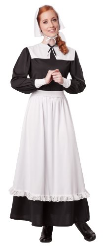 California Costumes Women's Pilgrim Woman Adult, Black/White, X-Large