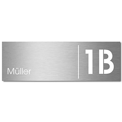 MOCAVI Stick 330 Briefkastenschild mit Hausnummer und Namen Edelstahl V4A graviert, groß, selbstklebend, modernes Design, passend für Box 111