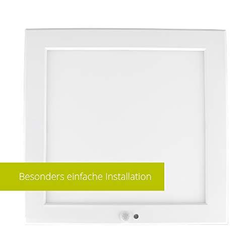 LED Deckenleuchte Deckenlampe Wandleuchte Wandlampe mit Bewegunsmelder Bewegungssensor, weiss, ultraslim (LED Deckenlampe eckig/quadratisch, PIR Sensor, 18W, warmweiss, 1 Stück)