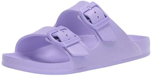 Skechers Girls Foamies Cali Blast-Sunshine Shimmer Slide Sandal, Lavender, 5 Big Kid