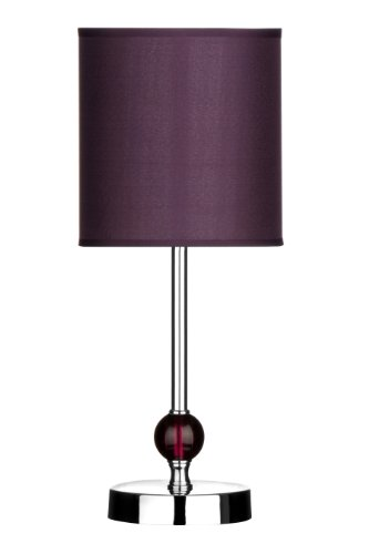 Premier Housewares Chrome Stem Table Lamp with Acrylic Ball and Fabric Shade - Purple