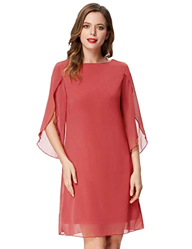 GRACE KARIN Summer Chiffon Cocktail Dresses Flare Swing Formal Party Midi Dress Rose Red M