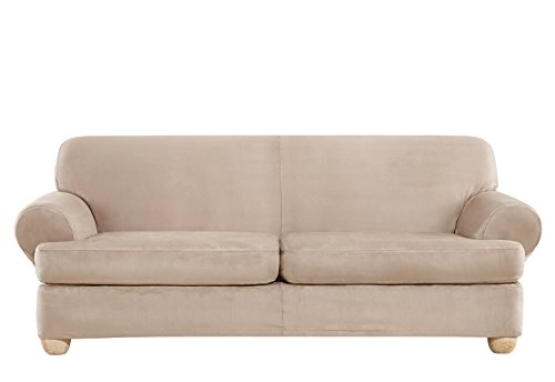 SURE FIT Ultimate Heavyweight Stretch Suede Individual 2 Piece T-Cushion Sofa Slipcover - Cement