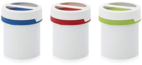 MARKESYSTEM Pack 3 FANTÁSTICOS ENVASES Gran Capacidad 1,5 litros con Rosca Resistentes y herméticos, envase con Cierre Seguro con Rosa y asa + Kit de etiquetado (3 Etiquetas + 1 Rotulador marcaje)