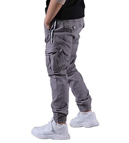 CAMLAKEE Jungen Cargohose mit Verstellbarer Taille, Kinder Slim Fit Jogging Hose Freizeithose mit Taschen, Grau, 152 / Größe 14