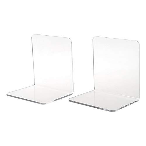 BASSK 2 Stück transparente Buchstützen aus Acryl in L-Form, Schreibtisch-Organizer für Bücher, Bürobedarf, Schreibwaren, Schulzubehör