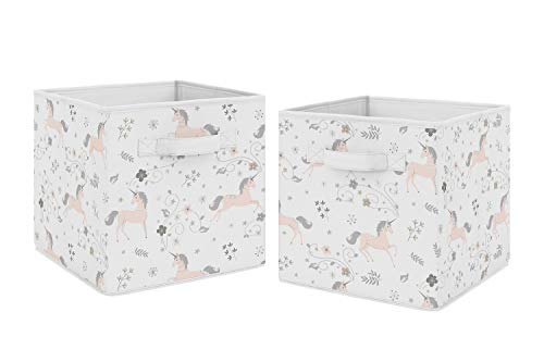 Sweet Jojo Designs Pink, Grey and Gold Unicorn Organizer Storage Bins for Collection - Set of 2