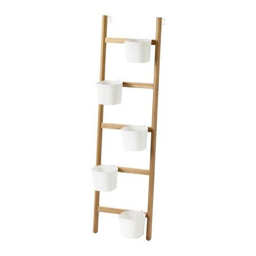 Ikea SATSUMAS Soporte con 5 macetas; de bambú; en blanco; (125 cm)