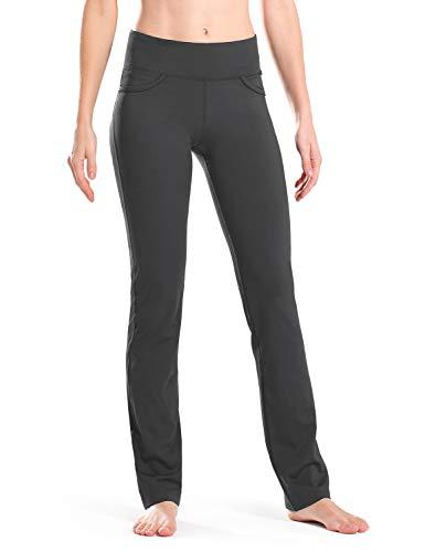 "Safort Women 28"" 30"" 32"" 34"" Inseam Regular Tall Straight Leg Yoga Pants, Workout Pants, Four Pockets, Grey M"