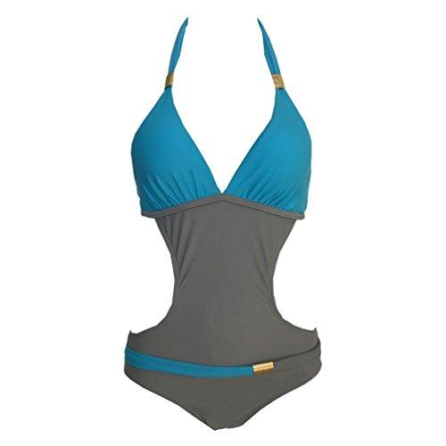 ISSHE Bañadores Mujer Bikini Escote Halter Monokini Trajes de Baño Señora Traje de Baño Bikinis Mujeres Trikini Bañador Natacion Push Up de Una Pieza Juveniles Trikinis Bañadores Espalda al Aire