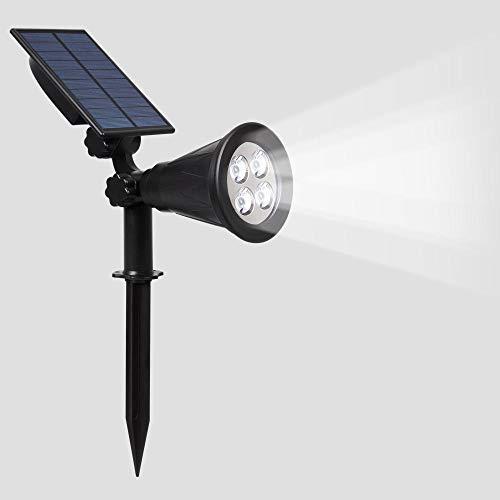 Solar spotlights,Solar-gazonlamp, grondspot, led-projectielamp voor waterdichte buitenverlichting-4LED wit licht