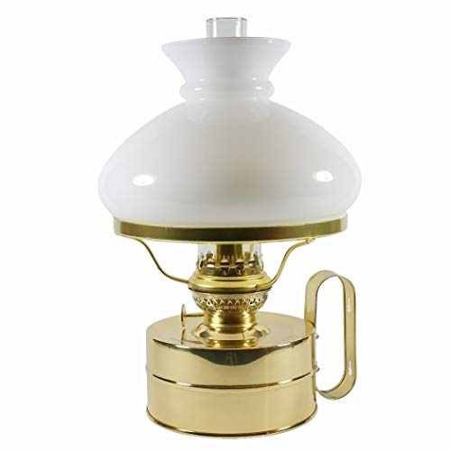 DHR Petroleumlampe Galley Messing poliert, mit weissem Vesta Opal-Glasschirm, Höhe 32 cm, 48 Std. Leuchtdauer, als Tischlampe und Wandlampe zu verwenden
