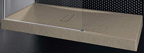 Piatto Doccia Novellini Custom Touch Dimensione 120x80 Altezza Spessore 12 cm Colore Terra Appoggio Pavimento Effetto Pietra Acrilico Compreso Piletta Scarico e Copri Piletta