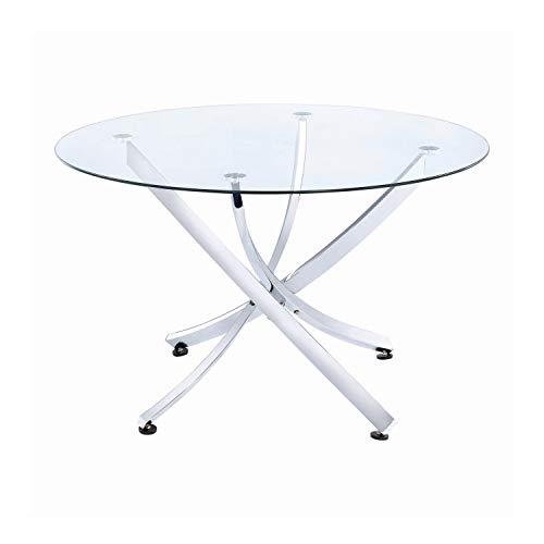 Coaster Fine Furniture Dining table, Clear and chrome