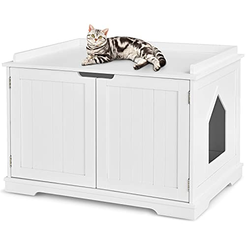 COSTWAY Katzenhaus Katzenhöhlemit Bett, geschlossene Katzentoilette mit Eingang, Haustierbox Haustierkiste aus Holzstruktur, großes Katzenklo Katzenschrank für Katzen Hunde Haustier (Weiß)