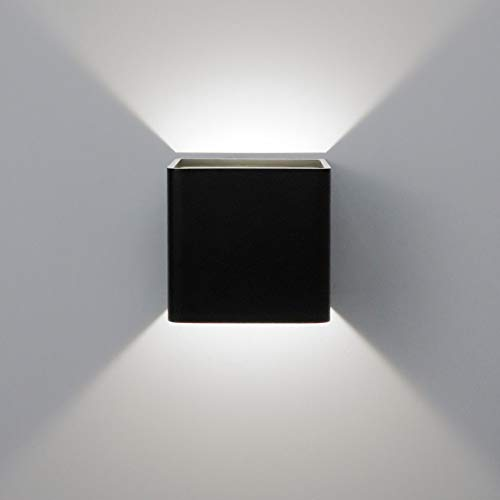 Aipsun Square Matte 10W LED COB Modern Up and Down Wall Light Indoor Wall Mount Sconce Pathway Staircase Bedroom Reading Living Room Balcony Home Lighting Fixture(Black, White 4000K)