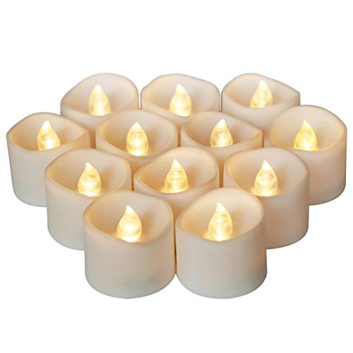 Tripop Flickering LED Tea Light Bulk, Battery Operated Bright White Flameless Candles for Proposal, Wedding and Holiday Decoration (12 Pack)