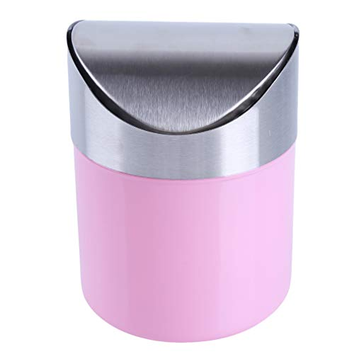 CAVIVI Mini cubo de basura con tapa, cubo de basura pequeño para escritorio, oficina, baño, cocina, color rosa