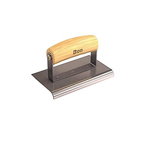 Bon 12-439 - Canteadora para hormigón (acero inoxidable, mango de madera, 15,2 x 8,9 cm)