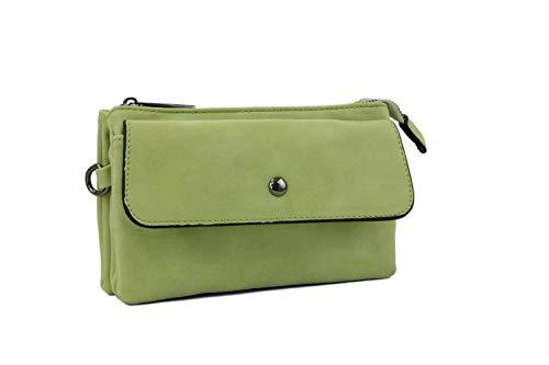 irisaa kleine Damen Umhängetasche Schultertasche weich- Designe Crossbody Handtasche Geldbörse Handy Mini-Tasche Brieftasche mit Verstellbarem Schultergurt für Handy, Damen Tasche:Grün