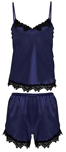 Nachtwäsche Damen Satin Schlafanzug Kurz Pyjama Zweiteiler Spaghetti-träger Top mit Spitze Schlafshorts Kurz Viola (S, Marine)
