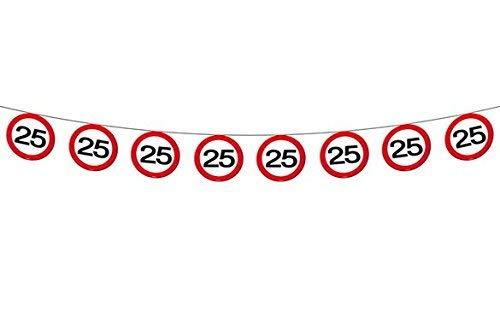 bb10 Schmuck 25.Geburtstag Girlande Flagbanner mit Zahl 25 Wimpelkette mit 15 Verkehrsschildern und 12m lang Dekoration zum 25er Geburtstag Party Jubiläum oder andere Anlässe