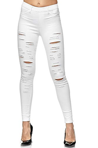Elara Damen Hose High Waist Destroyed Look Chunkyrayan A89-9 White-36 (S)