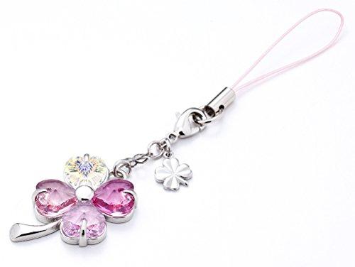 Kisaragi Cell Phone Strap 027 Four-Leaf Clover - Gradation(Pink3+Crystal Aurora)