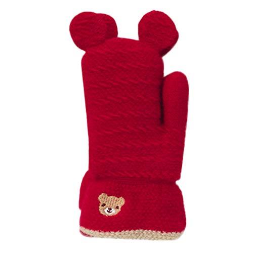 URSING Baby Handschuhe Niedlichen Einfarbig Winterhandschuhe Mädchen Jungen Fäustlinge Kinder Snowboard Gestrickte Handschuhe Niedlich Roboter Dick Skihandschuhe Sporthandschuhe (Rot)