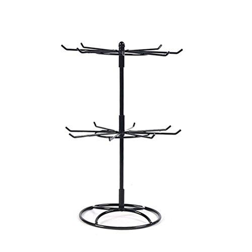 Yardwe Schmuckständer Zwei Schichten Drehbar Schmuckbaum für Halskette Armband Ohrring Tisch Deko (Schwarz)