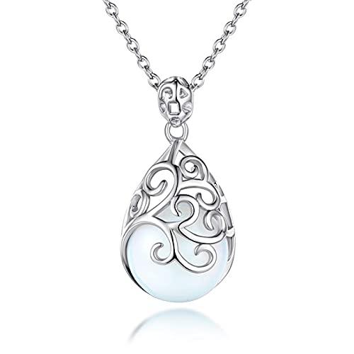 xu Collar de Plata esterlina Hueca S925, Collar con Colgante de Cristal Retro, Accesorios de Cadena de clavícula para joyería de Mujer