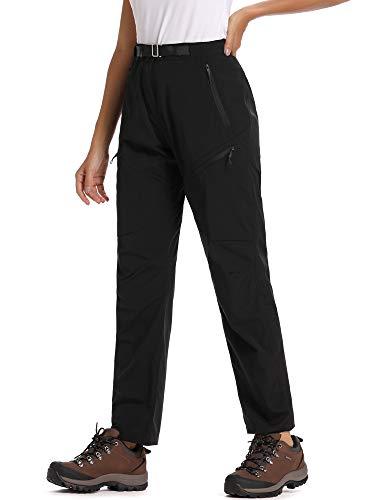 Jessie Kidden Women's Outdoor Fleece Lined Soft Shell Hiking Fishing Ski Snow Pants Insulated Water Wind Resistant (2184 Black, 36)