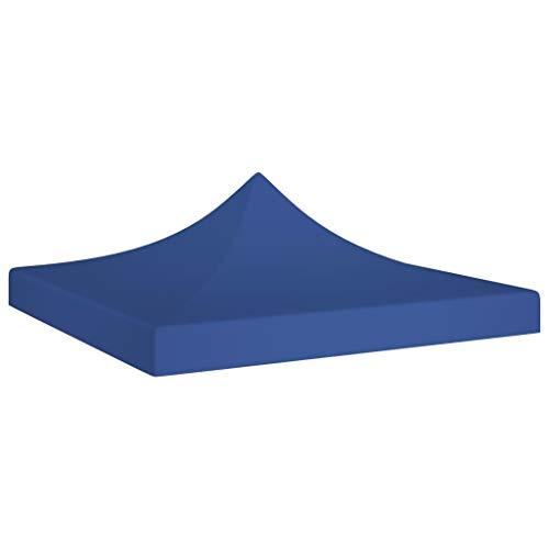 vidaXL Toit de Tente de Réception Toile de Toit de Chapiteau Remplacement de Toit de Tente Escamotable Pavillon de Jardin 2x2 m Bleu 270 g/m²