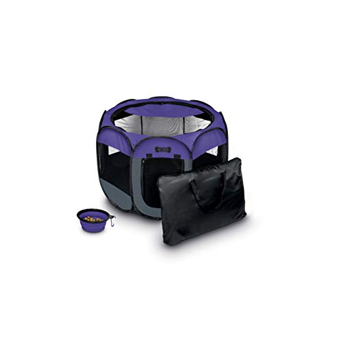 Ruff 'n Ruffus Portable Foldable Pet Playpen + Carrying Case & Collapsible Travel Bowl |...