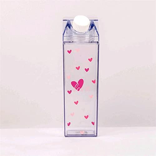 Plástico creativo claro leche cartón botella de agua moda fresa caja de leche transparente jugo taza de agua para niñas (2)