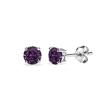 Sterling Silver 4mm Purple Small Stud Earrings Made with Swarovski Crystals