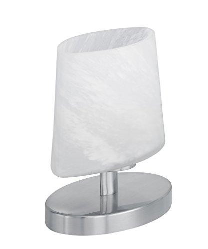 Trio Leuchten halogeen-tafellamp in nikkel mat met glas alabasterkleurig wit inclusief 1 x G9 28 W, Touch-Me, hoogte: 18 cm 592000107