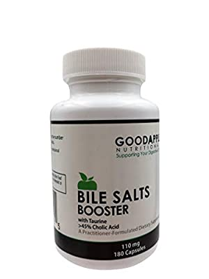 Bile Salts Booster for Gallbladder and No Gallbladder|Adis in Breakdown & Absorption of Foods including Fat-Soluble Vitamins A,D,E,K|Supports Gas & Bloating|Ox Bile Salts & Taurine|180 capsules|110mg