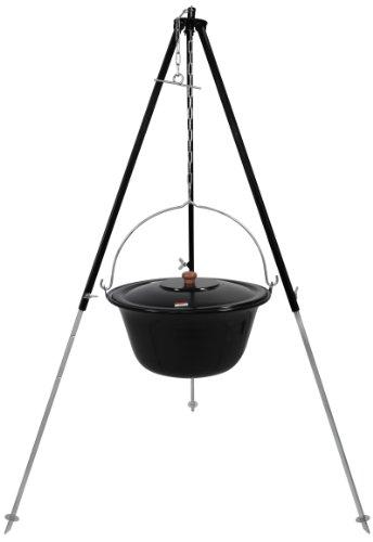 Grillplanet Original ungarischer Gulaschkessel 15 Liter emailliert | Dreibein-Gestell 130cm Teleskopgestell Kettenhöhenverstellung mit Gulasch-Topf, Suppentopf mit Deckel | Kesselgulasch Topf im Set