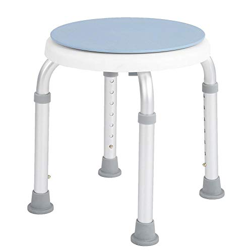 Jadpes 360 graden klapstoel 1,2 mm aluminium buis, verstelbare ronde badkamerdouchekruk, draaistoel van aluminiumlegering, 360 graden draaibare veiligheidsstoel