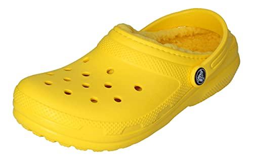 Crocs Unisex's Classic Lined Clog | Warm and Fuzzy Slippers, Lemon/Lemon, 7 Women/5 Men