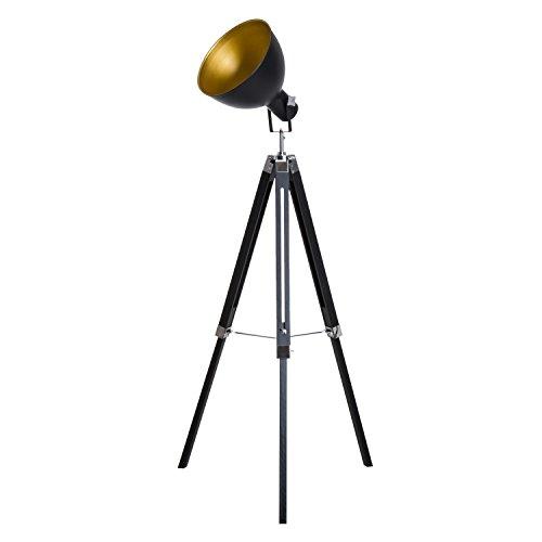 HOMCOM Lampadaire trépied Style Industriel Hauteur réglable Abat-Jour Ajustable E27 40W Max. 65 x 65 x 108-152 cm Bois métal Noir et doré